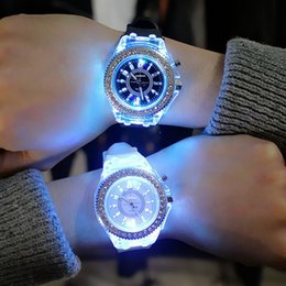 Discount ladies watches rubber straps - Sports Women Lady Girl Rubber Band Candy Wrist Watch Couple jelly rhinestone Led Night Light Quartz Watch Colorful Strap