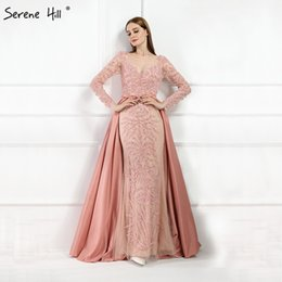 long casual dress train Australia - Luxury Pink Mermaid Evening Dresses Emeradald Green Train Long Sleeves Beading Crystal Evening Gown 2019 La6172 Y19072901