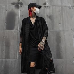 Shirts Men Jacket Australia - Men Streetwear Punk Gothic Hip Hop Long Shirt Cardigan Coat Male Striped Casual Shirt Outerwear Jacket