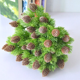 plastic christmas decor plants Canada - artificial plastic pine 7 branches Pine Nuts Cones Fake Plants Tree for Christmas Party Decoration Faux Grass Xmas home decor T191029