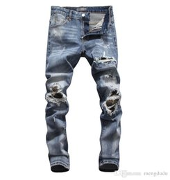 men ripped jeans size 38 Australia - Wholesale slp blue black destroyed mens slim denim straight biker skinny jeans Casual Long men ripped jeans Size 28-38 free shipping 007