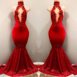 $enCountryForm.capitalKeyWord NZ - 2019 hot sale Real Pictures Red Sexy High Neck Mermaid Sequined Skirts Prom Dresses With Hollow Out Front Lace Appliqued Beads Evening un_13