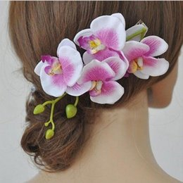 hair flowers clips orchid UK - hair clip Sweet Women Girls Artificial Orchid Flower Hairpin Fashion Bridal Party Wedding Beach Gift Hair Clip