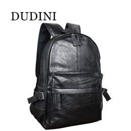 Style Men Top Korean Australia - Wholesale- DUDINI Fashion Korean Style Men Backpack Top Quality Leather Double Shoulder Bags School Bag Book Rucksack Male Outstoor Tote