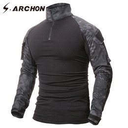 Black Military Clothes Australia - S.archon Military Uniform Tactical Long Sleeve T Shirt Men Camouflage Army Combat Shirt Airsoft Paintball Clothes Multicam Shirt J190529