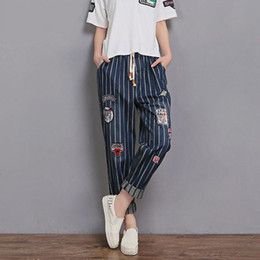 Discount korean wide pants - 2XL-6XL Plus size 2019 Spring new Korean version striped cotton jeans women's loose Ankle-Length was thin wide leg