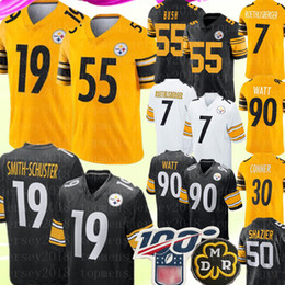 Wholesale Pittsburgh # Steelers Jersey 19 Juju Smith-Schuster 55 Devin Bush 7 Ben Roethlisberger Jersey 90 T.J. Camisetas de fútbol de Watt 50 Ryan Shazier