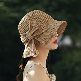 e403d6712d6d6 Foldable Packable Weave Bow Knot Lacing Floppy Sun Straw Hat Shade Summer  Beach for Women UV Protection Handmade straw hat