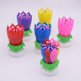 Musical Birthday Candle Magic Lotus Flower Candles Blossom Rotating Spin Party 14 Small 2layers Cake Topper Decoration SN2512