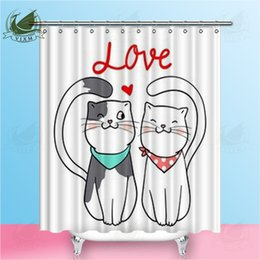 cat shower curtains NZ - Vixm Valentine's Day Cartoon Lovers Love Cats Shower Curtains Cute Girl Illustration Waterproof Polyester Fabric Curtains For Home Decor