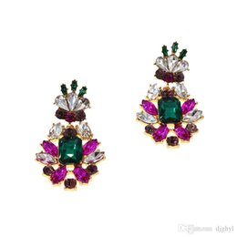 purple chandelier earrings UK - New Fashion Arrival Baroque Crystal Wedding Earrings for Women Purple Color Rhinestone Long Hanging Brincos Bridal Bridesmaid Jewelry