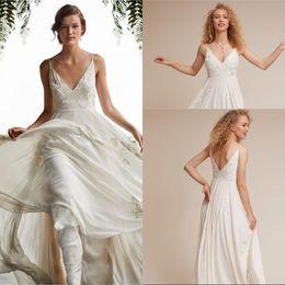 $enCountryForm.capitalKeyWord NZ - 2019 Summer Style A Line V Neck White Ivory Chiffon Embroidery Beach Wedding Dresses Sleeveless Custom Made Bridal Gowns Wedding Dress