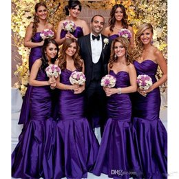 cheap strapless trumpet wedding dresses UK - Tafeta Cheap Purple Bridesmaid Dresses Junior Maid of Honor Wedding Guest Gowns 2020 Sexy Mermaid Bridesmaid Gowns