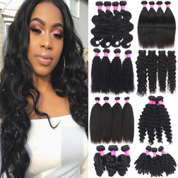 Discount burgundy hair wefts 9A Brazilian Human Hair Extensions 100% Unprocessed Virgin Hair Bundles Wefts Peruvian Malaysian Indian Deep Wave Loose