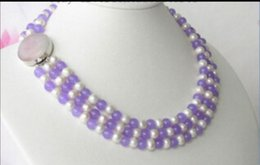$enCountryForm.capitalKeyWord Australia - necklace Free shipping ++++ Fast Vogue 3row 8mm light purple jade white Pearl Necklace NEW