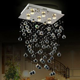 crystal ceiling lights fashion lighting Canada - best price mordern lamp Stair K9 Crystal Chandelier Villa Luxury Hotel fashion Stair ceiling light LED Long Droplight