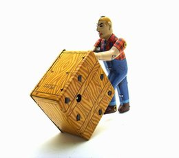 Metal Worker Australia - [Funny] Adult Collection Retro Wind up toy Metal Tin wharf Worker is working Move box Clockwork toy figures model vintage toy