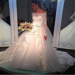 dropped wedding dresses NZ - 2019 New Dubai Elegant Long Sleeves A-line Wedding Dresses Sheer Crew Neck Lace Appliques Beaded Vestios De Novia Bridal Gowns with Bowknot