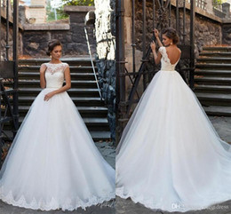 Floral corsets online shopping - Sheer Neck Lace Appliqued Sexy Low Back Corset Bridal Gowns With Beaded Sash New Simple Elegant Cap Sleeves A Line Wedding Dresses