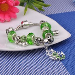 Shaped Crystal Beads Australia - 2019 Discount Bracelets Fit Pandora Women Silver Green Murano Glass Beads Bracelets Bangle Crystal Scorpion Shaped Pendant Jewelry Party P71
