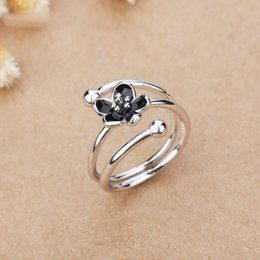 Ring Adjust Size Australia - Black Epoxy Rose flower adjusted size Finger ring High quality Silver color Cute Girls Engagement Party rings Plant jewelry