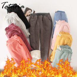 Women Warm Winter Thick Trousers Australia - Winter Cashmere Warm Pants For Women Casual Velvet Warm Pants Women's High Waist Winter Candy Color Thick Trousers Warm Women J190402