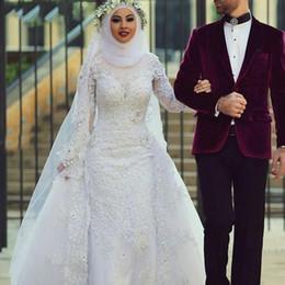 $enCountryForm.capitalKeyWord UK - 2019 White Muslim Wedding Dresses Hijab high neck Saudi Arabic flowers Long Sleeves Lace Beaded applique Dubai Arabic mermaid Bridal Gowns