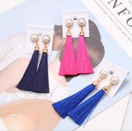 Wholesale Thread Long Tassel Designer Earrings with Pearl Drop Statement Fringe Earrings for Women Luxury Tear Drop European Tassel Dangle Earring