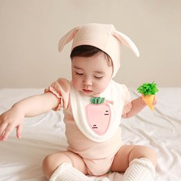 3t bib online shopping - Girl Solid Color Rompers Kids Designer Clothes Girl Lotus Leaf Sleeve Radish Bibs Climbing Suit Three Piece Sets