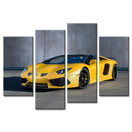 $enCountryForm.capitalKeyWord Australia - Unframed Yellow Sports Car Canvas Prints Artwork Picture Paintings on Canvas Wall Art for Home Living Room Decoration 4 Pieces
