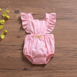Jumpsuit Black Girls Australia - Flying Sleeve INS Pink Baby Girls Rompers Must-have Infant Girls Bodysuits One-piece Bow Sleeveless Toddler Bodysuits Girls Jumpsuits