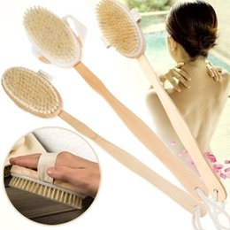 wholesale natural body brush NZ - Fashion Hot Natural Long Wooden Bristle Body Brush Massager Bath Shower Back Spa Scrubber