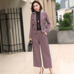 womens blazers for work Australia - Female Elegant Business Uniform 2 Piece Set Wide Leg Pant Suits for Ladies Womens Plaid Business Office Work Wear Blazers Sets
