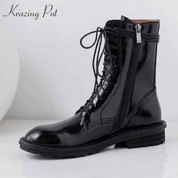 Carved boots online shopping - krazing pot high quality genuine leather vintage boots round toe med heels winter solid lace up women carving ankle boots L30
