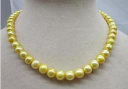 "Chain Lanterns Australia - Charming 9-10mm South Sea Yellow Pearl Necklace 18"" Golden Lantern Buckle"