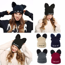 $enCountryForm.capitalKeyWord Australia - Winter Hat Woman Casual Carttoon Cat Warm Soft Skullies Beanies Cool Hedging cap For Ladies Cap Boys