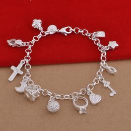 Cross Silver Plate Bracelet NZ - 925 Sterling Silver Plated Charms Bracelets Heart Lock Cross Ring Star Moon Charm Bracelet 13pcs Pendants Charms Bracelet Jewelry DHL FREE