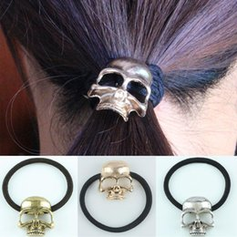 Metal Hair Ponies Australia - Sale 3 Colors 1Pc Retro Metal Punk Gothic Hair Bands Skull Hair Clip Jewelry Halloween Xmas Gift
