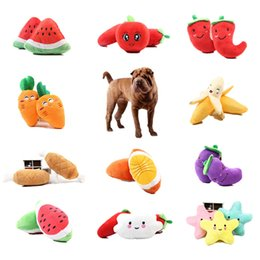$enCountryForm.capitalKeyWord Australia - 1pc Fruit Vegetable Chicken Drum Bone Squeak Toy For Dog Puppy Plush Red Pepper Eggplant Radish Duck Sounding Pet Toys