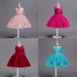 Gauze balls online shopping - Baby Skitr Girls Dress Girls Princess Dress Performance Dress Flower Lace Gauze Fold Bow Round Neck Sleeveless