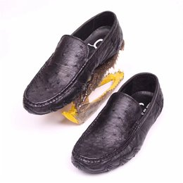 $enCountryForm.capitalKeyWord Australia - Business Style Authentic Ostrich Skin Soft Rubble Sole Men's Comfortable Shoes for Suit Genuine Leather Male Slip-on Flats Shoes