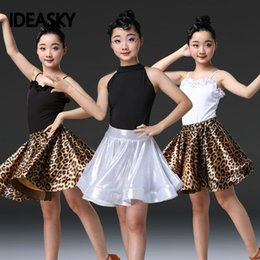 kids salsa dancewear NZ - Leopard girl latin dance dress for children girls samba competition ballroom long sleeves kids top skirt tango salsa dancewear