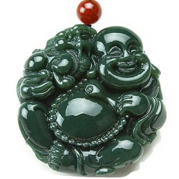 Carved Jade Red Pendants Australia - Natural Jade Fine Hand Carved Lucky Happy Laughter Maitreya Buddha Necklace Pendant Women Mens Gemstone Jewelry Gift Wholesale