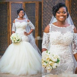 $enCountryForm.capitalKeyWord Australia - Elegant African Mermaid Wedding Dresses Cape Sleeve floor length puffy tulle skirt Bridal Gowns vintage Lace Applique Plus Size Wedding Gown
