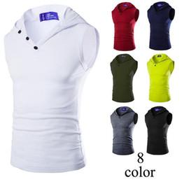 92a4d105c T Shirt Sleeveless Shirts Hooded Sleeveless Vest Shirts for Men Running  T-Shirts Outdoor Sports Wear Running Vest for Men Gym