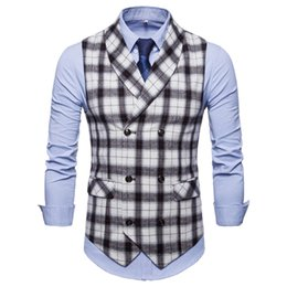 Chinese  New Fashion Plaid Men's Casual Suit Vest European Code Thick Men's Vest Waistcoat Men Gilet Homme Dress Vests For Men manufacturers