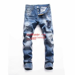 men pants italy Australia - Fashion Top quality mens jeans Shredded slim straight pants man brand clothes for mens Pants Fashion Holes Trousers Italy man clothes NZK-1