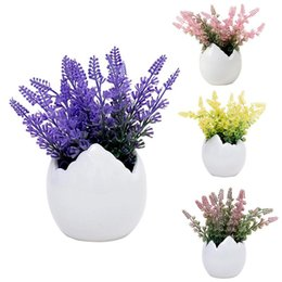 $enCountryForm.capitalKeyWord UK - Mini Nordic Potted Flowers Simulation Flower Durable Ceramic Eggshell Shaped Pot Bonsai Desk Household Decoration Plastic Plant