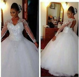 $enCountryForm.capitalKeyWord Canada - White Tulle V Neck Princess Sheer Long Sleeve Bling Ball Gown Wedding Dresses Plus Size African Sweetheart Bridal Gowns With Beads 2019 H020