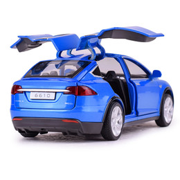 Toy Cars For Sale UK - Hot Sale 16 CM Scale MODEL X Alloy Car 6 Door can open Diecast Model Toy rubber wheel sound light Christmas Gift toy for kids